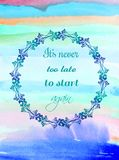 Creative texture for design with quote. Vibrant hand painted watercolor background. Handmade overlay. Decorative colorful textured. Creative texture for design royalty free stock photos