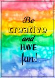 Creative texture for design with quote. Vibrant hand painted watercolor background. Handmade overlay. Decorative colorful textured. Creative rainbow texture for royalty free stock photos