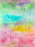 Creative texture for design. Vibrant hand painted watercolor background. Handmade overlay. Decorative chaotic colorful textured pa. Per. Hand drawn bright Royalty Free Stock Photo