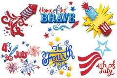 Happy 4th of July. Creative 4th of July concept photo set of fireworks made of paper on white background Royalty Free Stock Photography