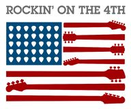 Creative 4th of July rock music poster. For invitation or greeting card template Royalty Free Illustration