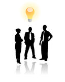Creative thinking business men. Vector illustration of three businessmen doing brainstorming and finding new creative solutions, represented by a light bulb over Royalty Free Stock Images