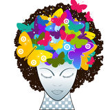 Creative thinking. Butterflies  rising from woman creativity thinking artistic concept Stock Photography
