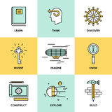 Creative thinking and invention flat icons vector illustration