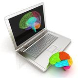 Creative three-dimensional model of human brain scan. On a digital laptop. 3d render vector illustration