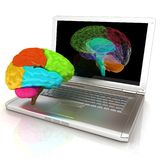 Creative three-dimensional model of human brain scan. On a digital laptop. 3d render royalty free illustration
