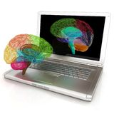Creative three-dimensional model of human brain scan. On a digital laptop. 3d render stock illustration