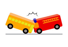 Creative toy blocks, bus with passengers crashed a fire truck. Vector illustration isolated on white background. Road accident concept Royalty Free Stock Photography