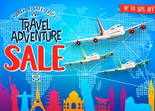 Creative Travel Adventure Sale Promotional Banner with Colorful World Famous Landmarks Silhouette and Airplanes stock illustration