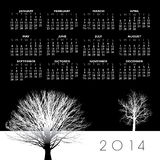 2014 Creative Tree Calendar. For Print or Web Stock Illustration