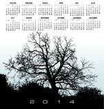 2014 Creative Tree Calendar. For Print or Web Royalty Free Stock Photo
