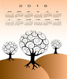 2016 Creative tree calendar. For print or web use Vector Illustration