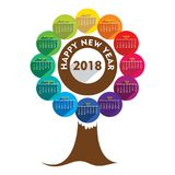 New year 2018 calendar design. Creative tree shape new year 2018 calendar 2018 template design Royalty Free Stock Images