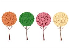 Creative trees. Creative design tree with four different color variations. Drawings are 2d Royalty Free Stock Image