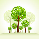 Creative trees with environment , illustration Stock Photo
