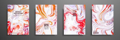 Creative trendy cards. Abstract painting templates with place for your text. Fluid art. Applicable for design covers vector illustration