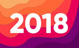 Creative trendy happy new year 2018 design card on colorful background. Vector illustration. Wavy background in modern style. EPS 10 stock illustration