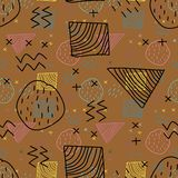 Creative trendy hipster children drawing style with brown background seamless pattern. Retro Creative trendy hipster children drawing style with brown royalty free illustration