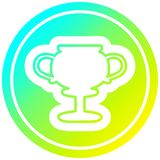 A creative trophy cup circular in cold gradient spectrum. An original creative trophy cup circular in cold gradient spectrum royalty free illustration