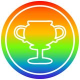 A creative trophy cup circular in rainbow spectrum. An original creative trophy cup circular in rainbow spectrum stock illustration