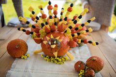 Creative turkey being made with vegetables and fruits royalty free stock image