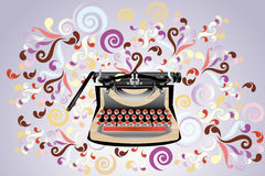 Creative typewriter. Creative retro styled typewriter, illustration with colorful  swirls - eps10 vectors Royalty Free Stock Photography