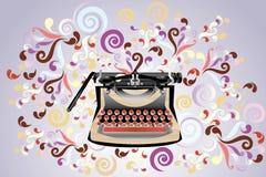 Creative typewriter. Creative retro styled typewriter, illustration with colorful swirls - eps10 vectors vector illustration