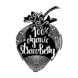 Creative typographic poster on a black silhouette. Of sweet strawberries on a white background for the online shops and supermarkets to sell 100 percent organic vector illustration