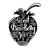 Creative typographic poster with the lettering on the black silhouette of the strawberries with handmade ornaments Stock Photography