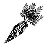 Creative typographic poster with the lettering on the black silhouette of the sweet carrots with handmade ornaments. Isolated on a white background 100 percent Royalty Free Stock Photos