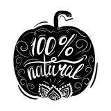 Creative typographic poster or a stamp on the black silhouette of a pumpkin with ornaments  on white background Royalty Free Stock Photography