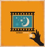 Creative and unique design concept for outdoor cinema. Minimalistic retro poster vector design for open air theater Stock Images