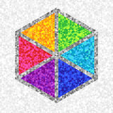 Creative Unique Symbol Hexagon of Colorful Triangles. Digital Geometric Concept Stock Photography