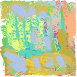 Creative universal abstract cards in green and blue and yellow and pink and brown tones. Royalty Free Stock Images