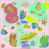 Creative universal abstract cards in green and blue and yellow and pink and brown tones. Stock Photos