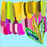 Creative universal abstract cards in green and blue and yellow and pink and brown tones. Stock Images