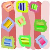 Creative universal abstract cards in green and blue and yellow and pink and brown tones. Abstract writing texture in green and blue and yellow and pink and vector illustration