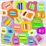 Creative universal abstract cards in green and blue and yellow and pink and brown tones. Stock Image
