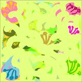 Creative universal abstract greeting cards in green and blue and yellow and pink and brown tones. Stock Photos