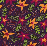 Creative universal artistic floral pattern background. Hand Drawn textures with colorful flowers. Trendy Graphic Design royalty free illustration