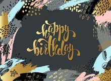 Creative universal card, background with hand drawn textures. Vector art frame for text with gold and black. royalty free illustration