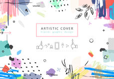 Creative universal floral artictic cover in trendy style with Ha Royalty Free Stock Photography