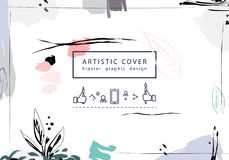 Creative universal floral artictic cover in trendy style with Ha Royalty Free Stock Photo