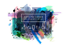 Creative universal floral artictic cover in trendy style with Ha Stock Image