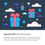Creative unusual present, special gift, surprising box concept, birthday card. Special gift, creative unusual present, surprising box concept, birthday card Stock Images