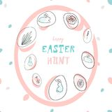 Creative unusual unique artistic hand drawn header. Easter eggs pattern trendy background for advertising, social media, web design, etc. Vector Illustration Royalty Free Stock Image