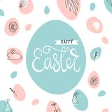 Creative unusual unique artistic hand drawn header. Easter eggs pattern trendy background for advertising, social media, web design, etc. Vector Illustration Stock Images