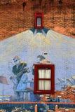 Creative use of wall with artist's grafitti,Saratoga Springs,New York,2014. Interesting brick wall with the creative idea from artist's grafitti of musical blues Royalty Free Stock Photos