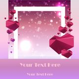 Creative Valentines Day Card template with geometric polygonal hearts with bokeh in pink and violet colors vector illustration