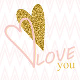 Creative Valentines day cards in pink, gold and white. Vector illustration Stock Image